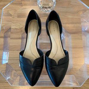 Tahari Jackie Black Leather Flat